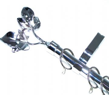 19mm Polished Chrome Curtain Pole with Twin Leaf Finials 1.2m 1.5m 2.4m 3m